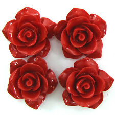 4 26mm synthetic coral carved rose flower pendant bead red