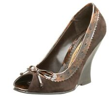 NEW - Chinese Laundry Women's Forte Peep Toe Wedge, Brown Suede
