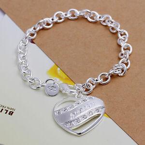 Silver Plated Big Links Bracelet 925 Sterling Bangle Anklet with Big Heart.8 in
