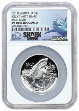 2015 The Great White Shark 1oz Silver Proof High Relief NGC PF70 Ultra Cameo