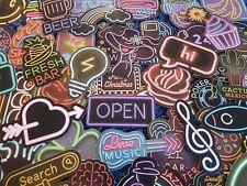 Neon Signs & Vegas Lights Stickers 20/50 Scrapbooking Decal Car Cardmaking Kids