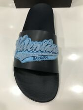 NIB Valentino Men's Appliqué Blue Embroidered Leather Slides Sandals Size 43