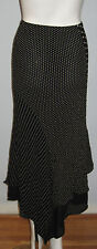 La Vie en Rose Size 8 Black Polka Dot & Striped Women's Tiered Long Skirt