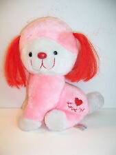 VINTAGE 1983 ANIMAL TOY IMPORTS PINK/RED PUPPY DOG PLUSH - LOVE ME - VGC - HTF