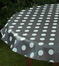 1.4x2.5m OVAL GREY POLKA DOT / PVC WITH PARASOL HOLE / GARDEN TABLECLOTH