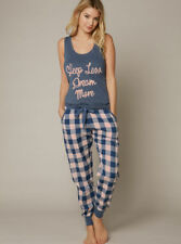"FAB LADIES COTTON CHECK PYJAMAS ""SLEEP LESS DREAM MORE""  SIZES 6-18 RRP £28"
