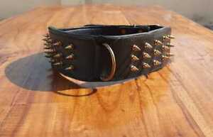"Spiked Studded Dog Collar Genuine Leather Heavy Duty Adjustable 3"" Wide padded"