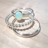 3Pcs/Set Exquisite Luxus Natürlich Weiß Feuer Opal Edelsteine Ehering flYfE