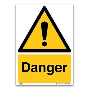 Danger Sign - 1mm Rigid Plastic Sign - Warning Construction Security
