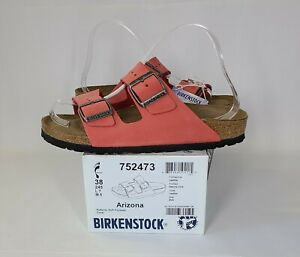 BIRKENSTOCK NIB $135 Coral Pink Arizona Nubuck Soft Footbed Sandals Sz 7.5
