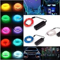 1M/2M/3M/5M Flexible LED Neon Light Glow EL Strip Dance Party Decor Battery