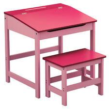 Kids Desk and Stool Set Pink Hinged Lid Storage Bedroom Playroom