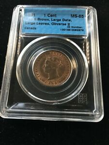 1891  LL/LD Obv#2  CCCS Graded Canadian, Large One Cent, **MS-65**