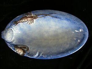 """Bassano"" Keramik handbemalte Schale Fisch Meeresfrüchte Relief BLAU 28x15x4"
