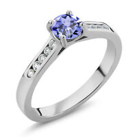 0.56 Ct Round Blue Tanzanite White Created Sapphire 925 Sterling Silver Ring