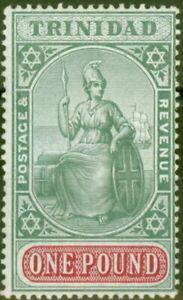 Trinidad 1907 £1 Green & Carmine SG145 Fine & Fresh Mtd Mint