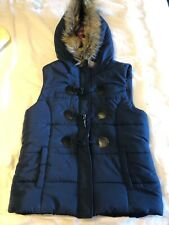 Altard State flannel lined puffy vest with fur hoodie