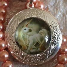 White Unicorn Locket Silver, Round Pendant Necklace. White Unicorn Horse