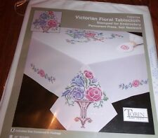 """Tobin Stamped Embroidery VICTORIAN FLORAL 15"""" x 44"""" Table Runner Dresser Scarf"""