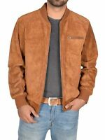 New Mens TAN Suede Lambskin Leather Bomber Jacket Hot Stylish menswear S M L XL
