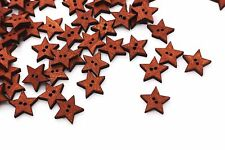 Star Wooden Button Stars Christmas Xmas Holidays Decoration Coat Wood DIY 20pcs