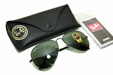 New Ray-Ban Aviator Sunglasses RB3025 L2823 58mm Black Frame/G-15 Green Lens!