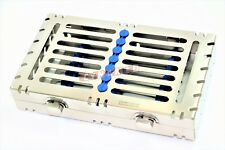1 German Dental Autoclave Sterilization Cassette Rack Tray For 7 Instrument Blue