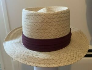 VINTAGE  STRAW Beach Boater HAT Maroon Band High Quality size 6 7/8 Nice LQQK