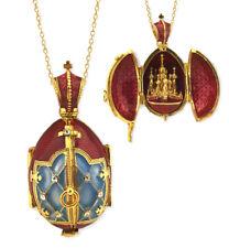 "Saint Basil Silver 935 Gold Tone Egg Pendant Locket 1"" Red Easter Gift"