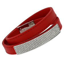 Swarovski Vio 5120644 Red Leather Rhodium Plated Plaque Pave Wrap Bracelet - M