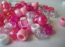 100 Pink Princess Pony Beads White Pearl Glitter Crystal Loom Bands Dummy Hair