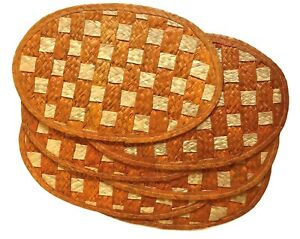 Boho Woven Placemats Set of 6 Oval Casual Country Dining 16.75x11 Inches