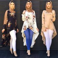 Islamic Asymmetric Long Sleeve Printed Shirt Dress Abaya Muslim Women's Dress