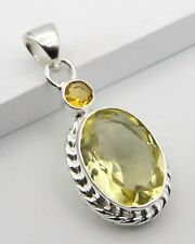 ART DECO YELLOW CITRINE STONE 925 STERLING SILVER NECKLACE PENDANT SIZE 1 5/8""