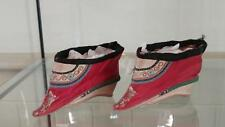 Fascinating Antique Chinese Silk Lotus Shoes with Wooden Heels for Bound Feet