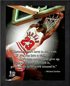 "Michael Jordan Chicago Bulls NBA Pro Quotes Photo NX219 (Size: 12"" x 15"") Framed"