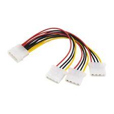 "3 Way Molex Splitter Cable PC Power PSU Adaptor Lead 5.25"" 4 pin LP4"