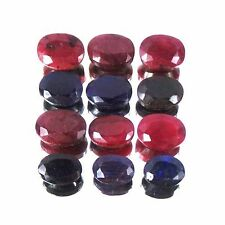 12 Pcs Natural Red Ruby & Blue Sapphire Ring Size Oval Cut Gemstone Lot 200 Cts+