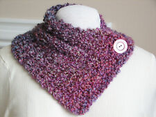 Hand Knit Shades of Orchid Textured Neck Warmer Scarf Wrap with Button