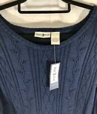 New DUCK HEAD Essentials Women's Knit Pullover Sweater Size Large Navy Blue