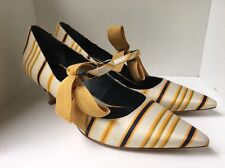 Tory Burch Heels Satin Yellow Striped 8 M