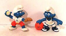 lot figurines série schtroupfs publicitaires Mc DO 1997 -  basket + base ball