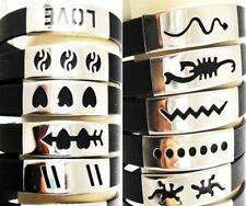 50X mix men's silicone stainless steel wristband bracelets wholesale joblot