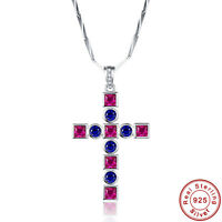 3.15CT AAA Ruby & Sapphire 100% 925 Sterling Silver Cross Chain Pendant Necklace