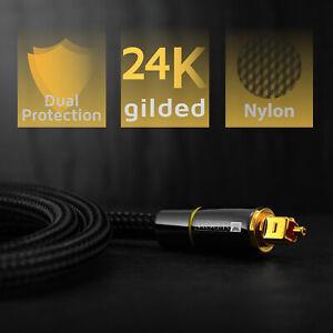 3m Premium Toslink Kabel Nylon & Metallstecker Optisches Digital SPDIF Sound