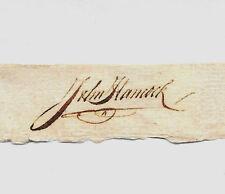 John Hancock Autograph Reprint On Genuine Original Period 1770s Paper