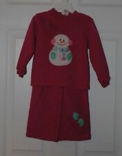 Cute Hot Pink Toddler Girls Sweatsuit with Snowman Snowflakes Size 2T/3T