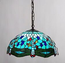 Tiffany Stained Glass Aqua Blue Dragonfly Pendant Shade Tv916s