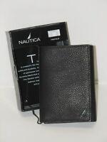 NEW Men's Genuine Black Leather NAUTICA Trifold Wallet