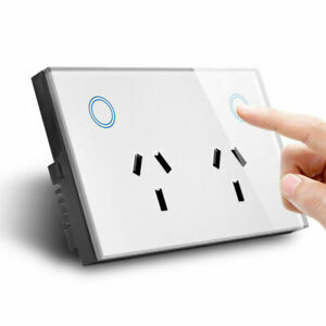 AU Type Double GPO Touch Glass Panel Power Point Wall Outlet Socket Switch 10A